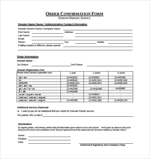 Order Confirmation Template u2013 24+ Free Word, Excel, PDF Document - sample sale order template
