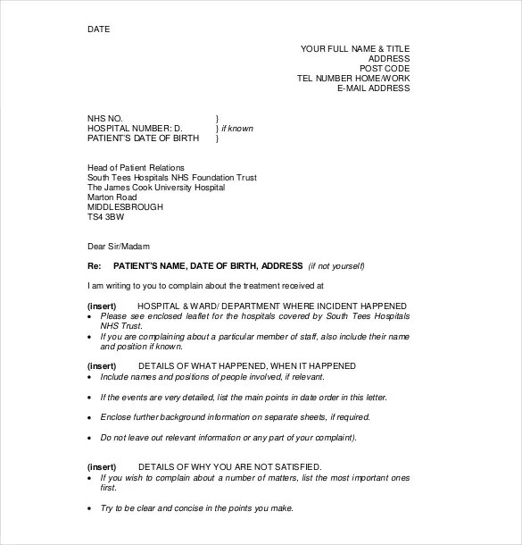 formal complaint template - Ozilalmanoof - formal letter of complaint sample