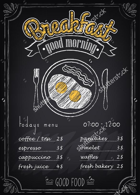 27+ Breakfast Menu Templates u2013 Free Sample, Example Format - sample chalkboard menu template