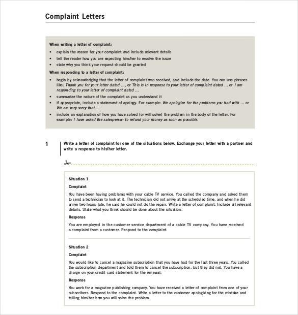 a letter of complaint example letter of complaints samples co letter