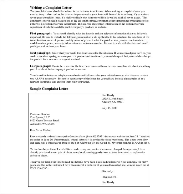 Writing customer service complaint letter - product complaint letter sample