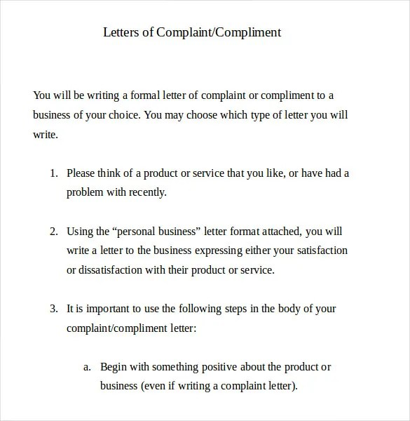 7+ Letter of Complaint Templates - Free Sample, Example, Format - Complaint Letters