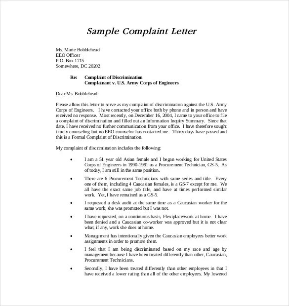 7+ Letter of Complaint Templates - Free Sample, Example, Format - example complaint letter
