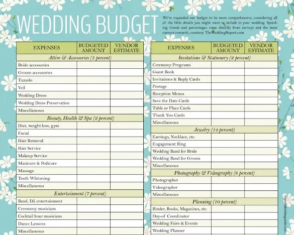 Wedding Budget Template \u2013 13+ Free Word, Excel, PDF Documents