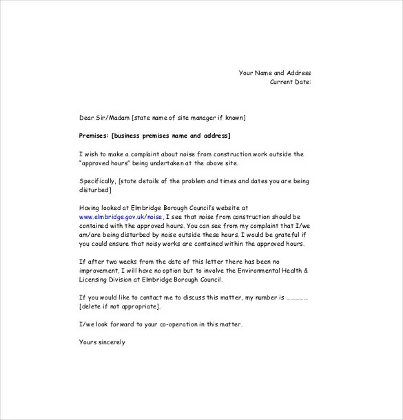 how to write a letter of complaint noise complaint letter templates - complaint letters template