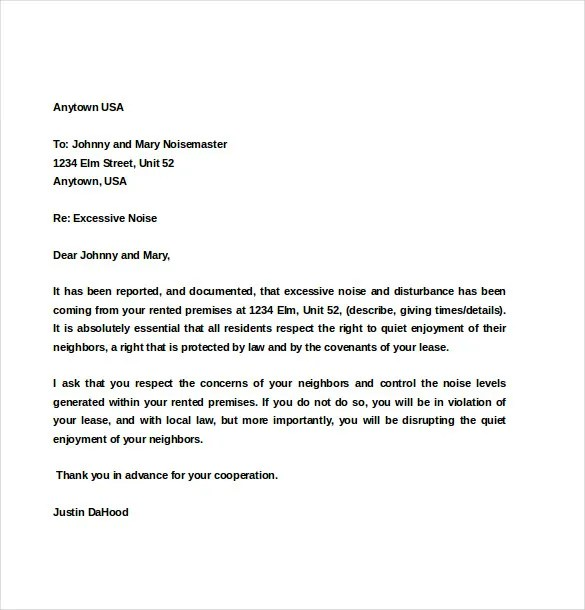 Complaint Letter To Landlord About A Neighbor Sample Sample Of Complaint Letter To Apartment Management Cover