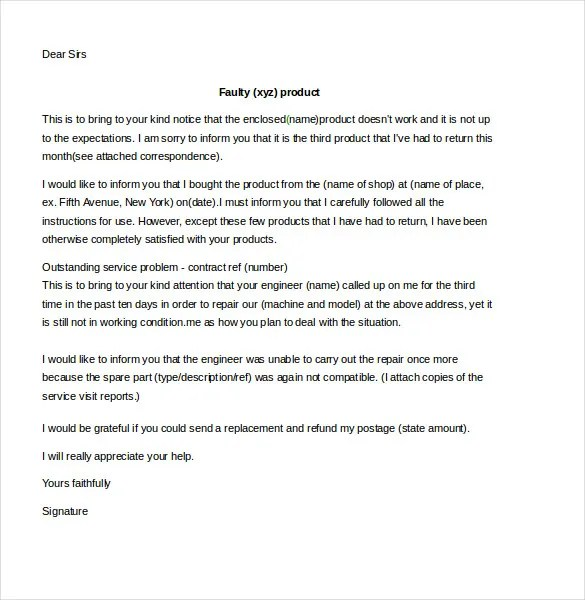 Customer Complaint Letter Template - 11+ Free Sample, Example - business complaint letter format