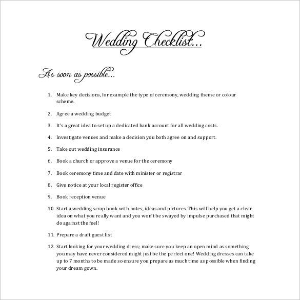 Wedding Checklist Template - 20+ Free Excel Documents Download - wedding checklist template