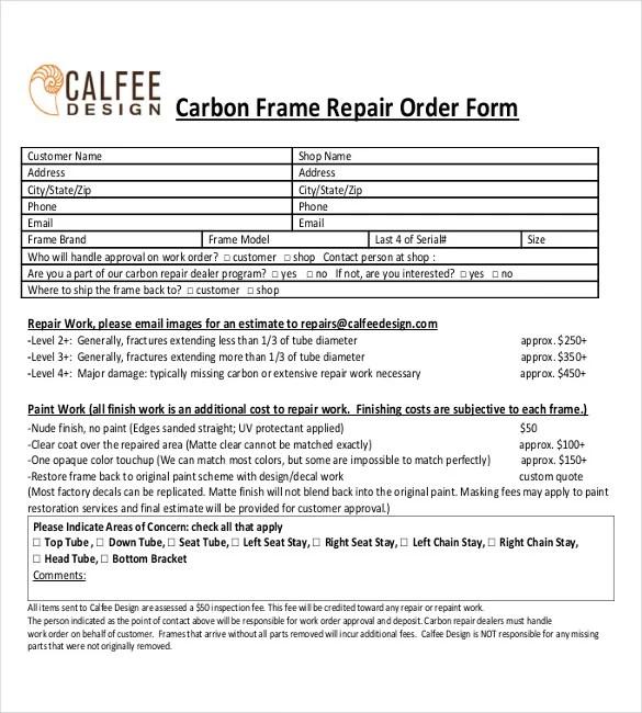 23+ Repair Order Templates \u2013 Free Sample, Example, Format Download