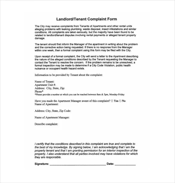 12+ Complaint Letter to Landlord \u2013 Free Sample, Example, Format - Letter To Landlord