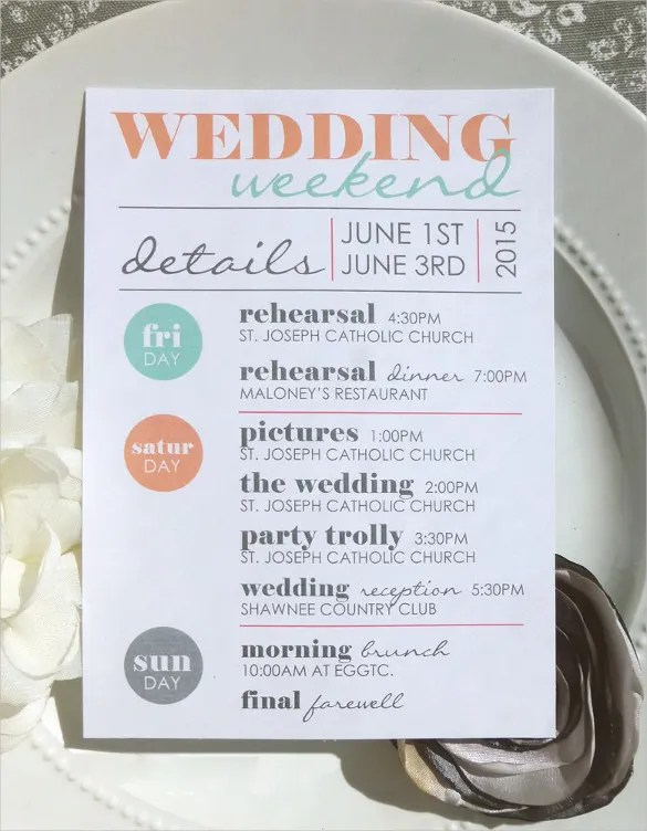 Wedding Itinerary Template - 44+ Free Word, PDF Documents Download