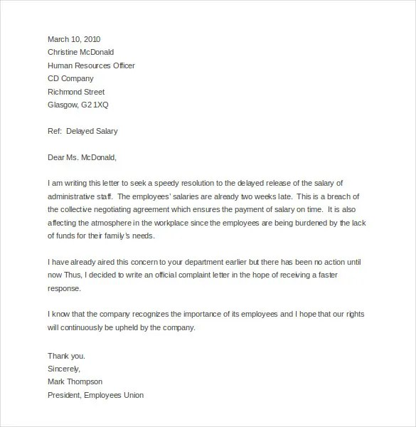 Complaint Letter Sample Employer – Sample Employee Complaint Letter