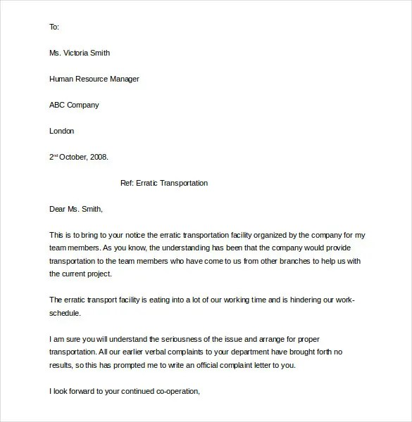 Bullying At Work Complaint Letter Template | Curriculum Vitae Ya