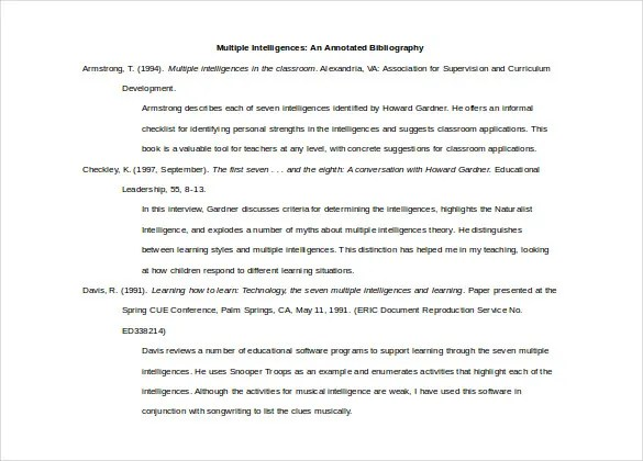 15+ Word Annotated Bibliography Templates Free Download Free