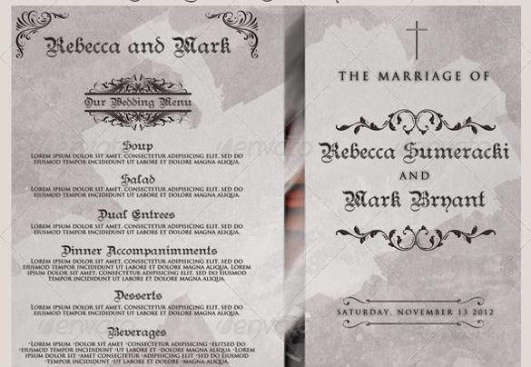 tri fold wedding program templates free