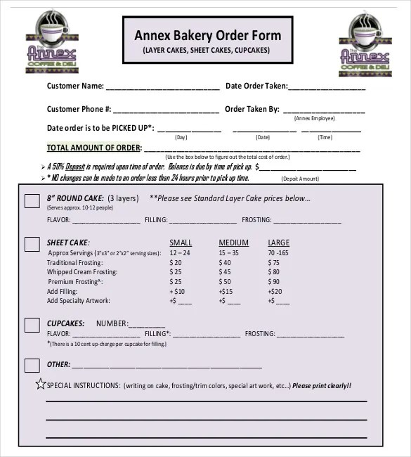 cake order forms templates - Romeolandinez - sample cake order form template