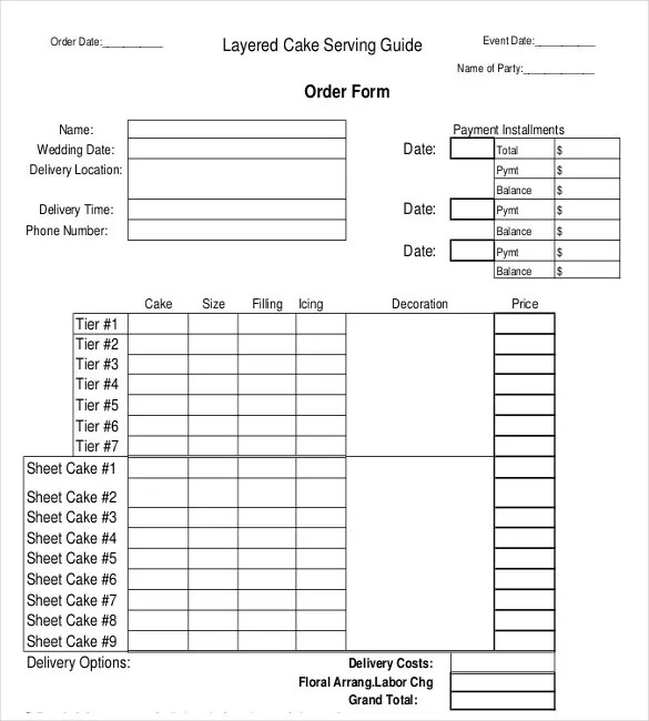 Bakery Order Template - 20+ Free Sample, Example, Format Download - cake order form template example