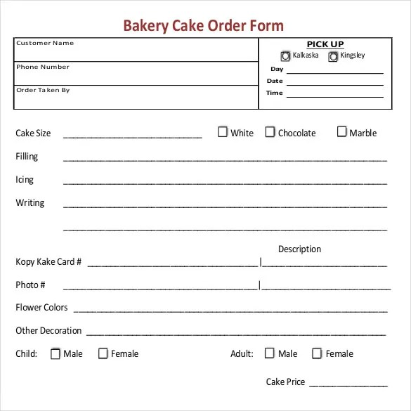 Bakery Order Template - 20+ Free Sample, Example, Format Download - cake order forms
