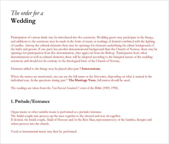 Wedding Order Template \u2013 38+ Free Word , PDF, PSD, Vector Format - order of service template free