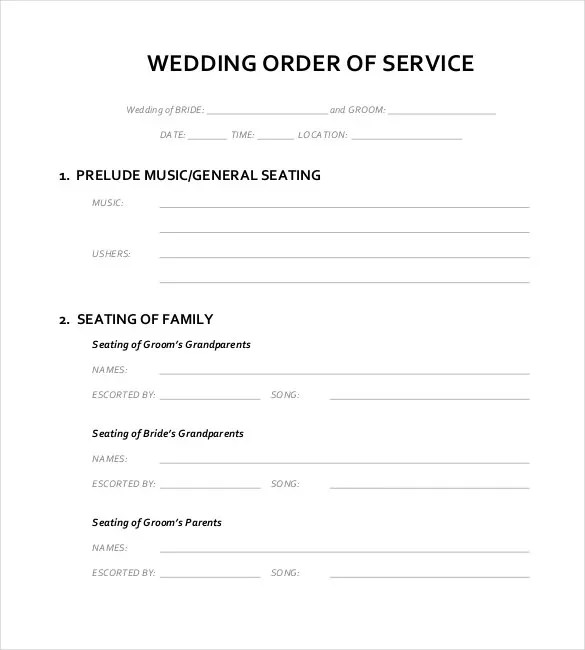 Wedding Order Template \u2013 38+ Free Word , PDF, PSD, Vector Format