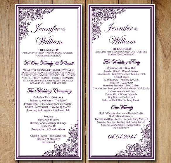wedding ceremony order of events template - Onwebioinnovate - order of service template free