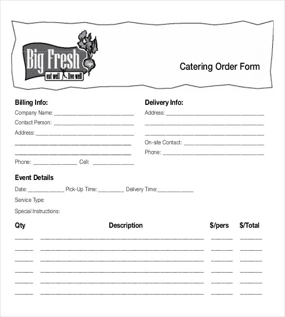 15+ Food Order Templates u2013 Free Sample, Example, Format Download - order form template free