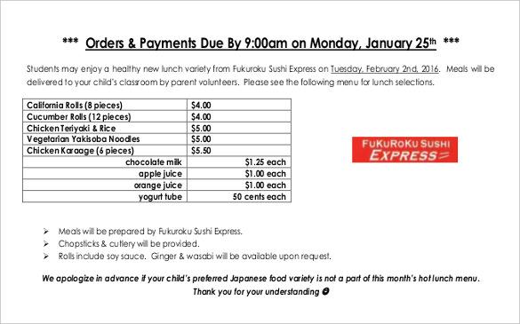 18+ Food Order Templates \u2013 Free Sample, Example, Format Download - food order form