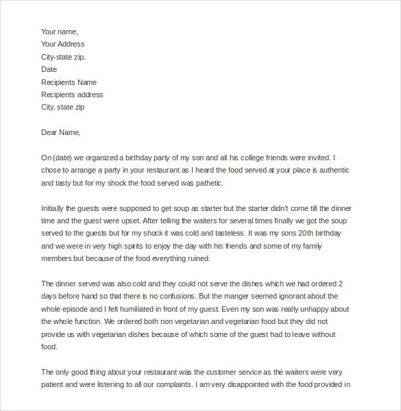 How To Write Complaint Letters Hong Kong Polytechnic 15 Restaurant And Hotel Complaint Letter Templates – Free
