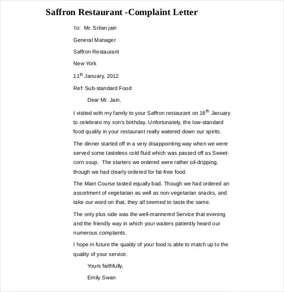 14+ Restaurant and Hotel Complaint Letter Templates u2013 Free Sample - business complaint letter format