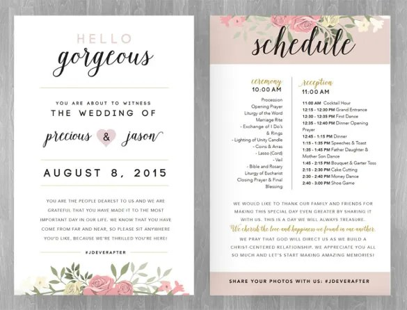 Wedding Schedule Templates \u2013 29+ Free Word, Excel, PDF, PSD Format