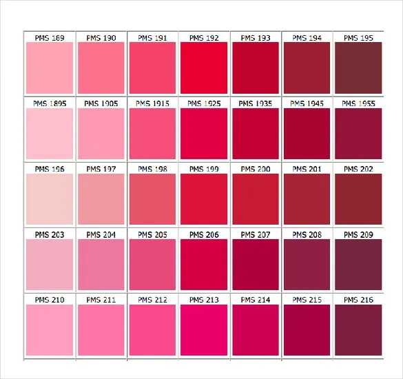Sample Pantone Color Chart hp2019wearepure