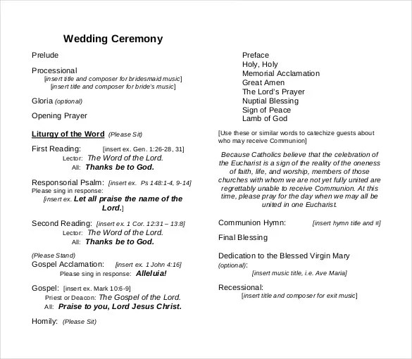 26+ Wedding Ceremony Program Templates - PSD, AI, InDesign, PDF, DOC