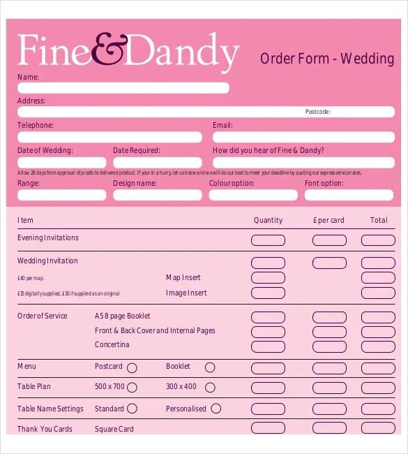 17+ Wedding Order Templates u2013 Free Sample, Example, Format - wedding plan