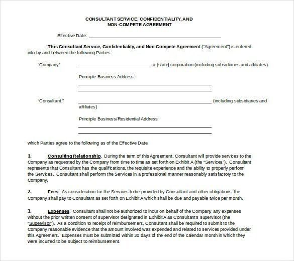 8+ Word Non Compete Agreement Templates Free Download Free - non compete agreement template