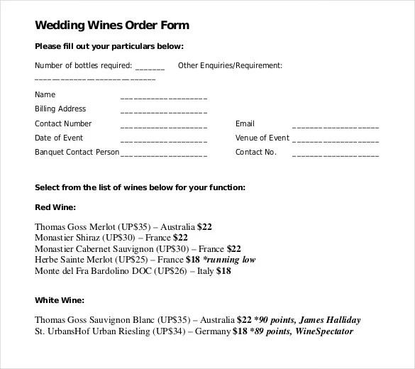 17+ Wedding Order Templates \u2013 Free Sample, Example, Format Download