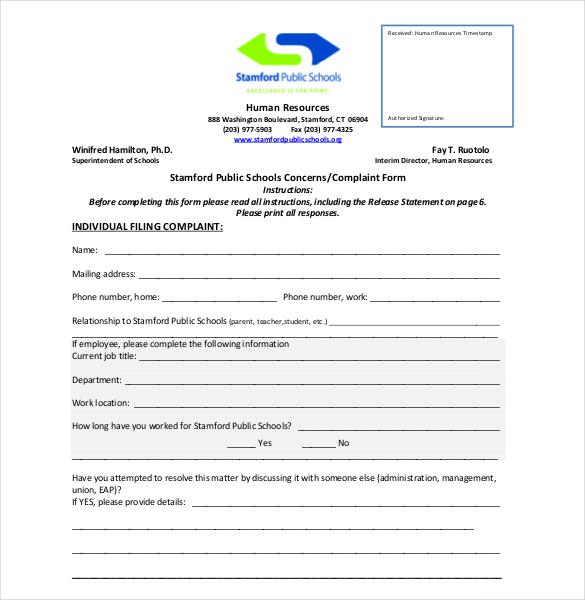 sample complaint form template trattorialeondoro - free customer complaint form template