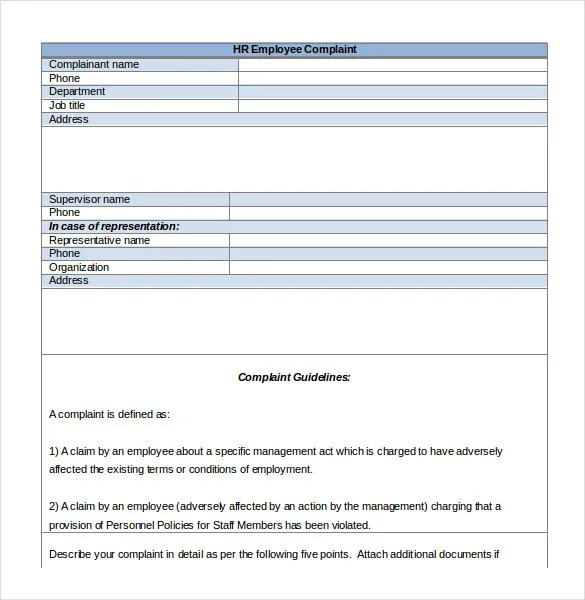 15+ HR Complaint Letter Templates \u2013 Free Sample, Example, Format