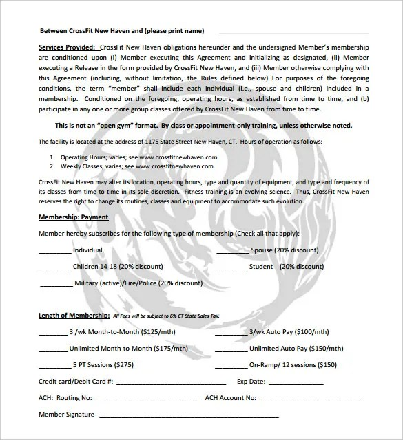 Gym Contract Template - 14+ Free Word, PDF Documents Download Free