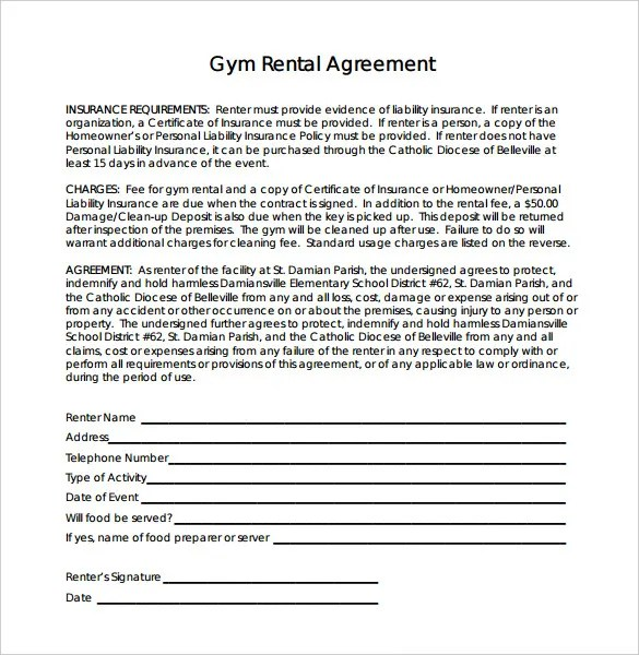 Gym Contract Template u2013 12+ Free Word, PDF Documents Download - liability contract template