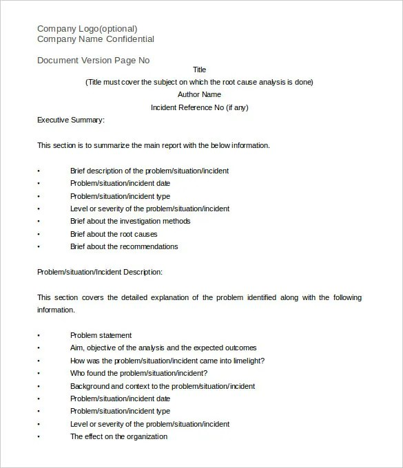Root Cause Analysis Template - 26+ Free Word, Excel, PDF Documents - analysis report template