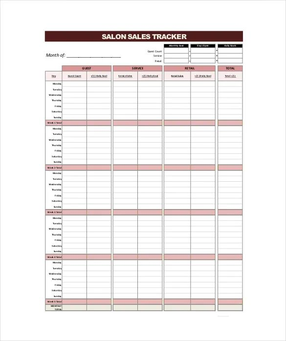 daily sales tracking sheet