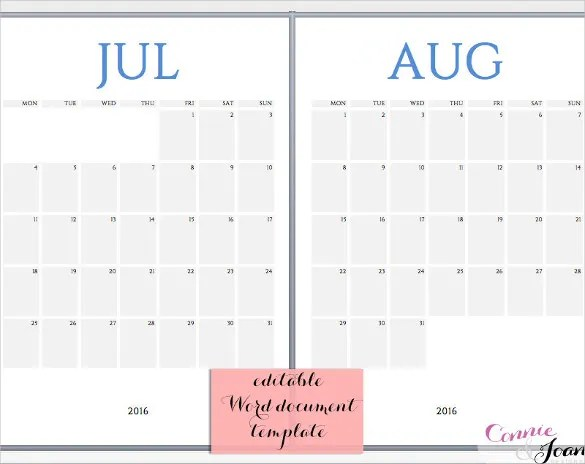 16+ Word Calendar Templates Free Download Free  Premium Templates