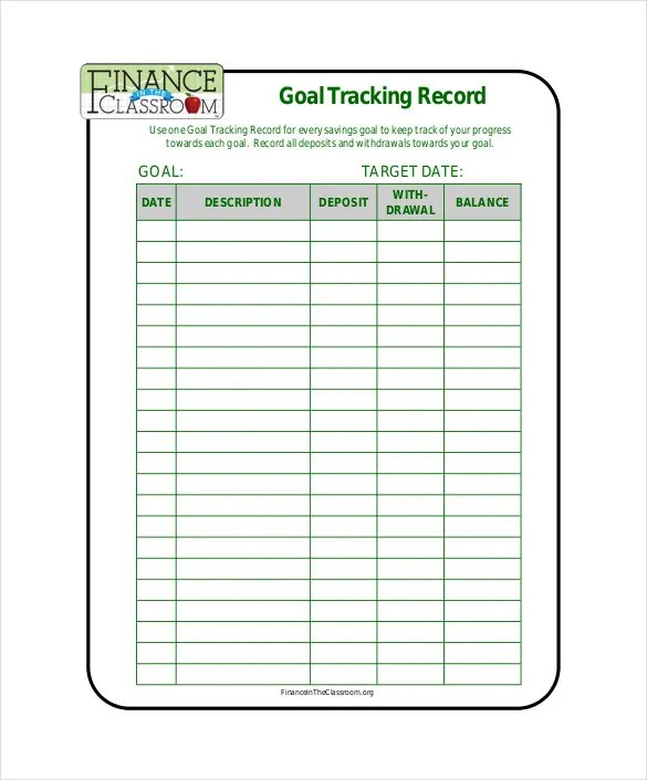 10+ Goal Tracking Templates \u2013 Free Sample, Example Format Download - sample goal tracking