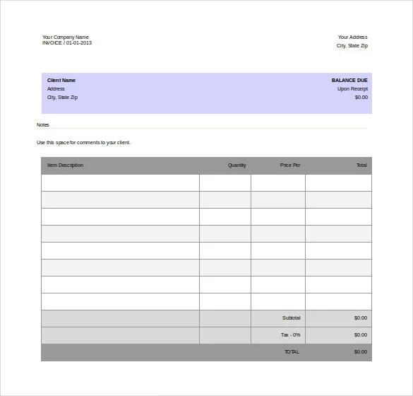 11+ Word Invoice Templates Free Download Free  Premium Templates