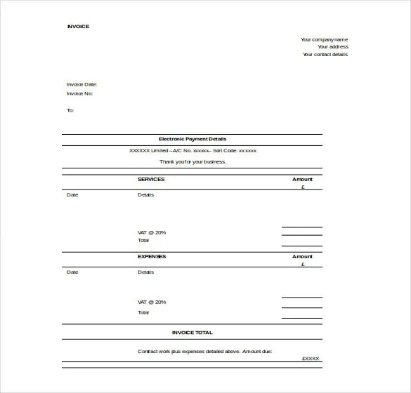 11+ Word Invoice Templates Free Download Free  Premium Templates