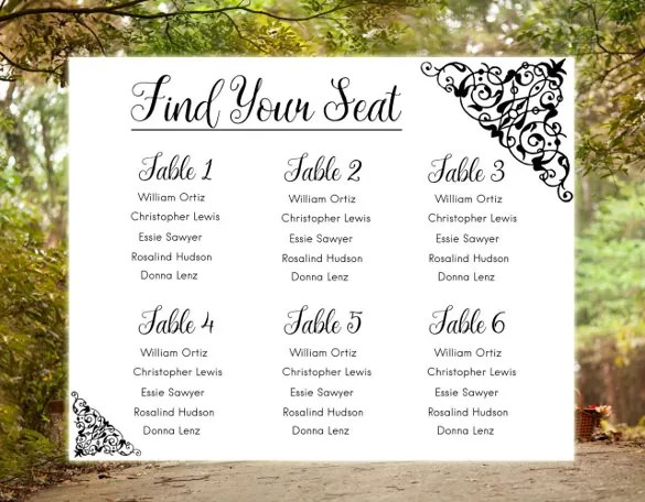 Wedding Chart Template \u2013 21+ Free Sample, Example, Format Download