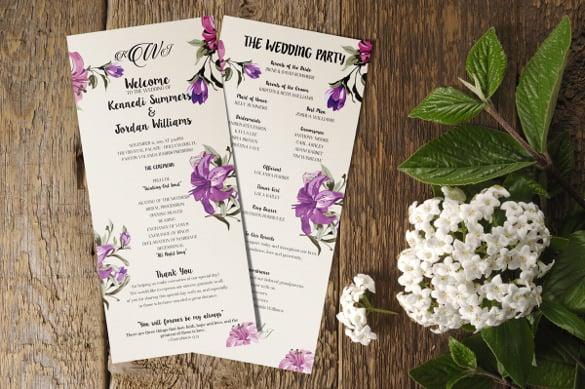 21+ Wedding Program Templates \u2013 Free Sample, Example, Format