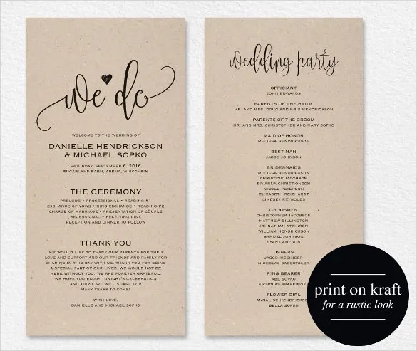 21+ Wedding Program Templates \u2013 Free Sample, Example, Format - wedding program template