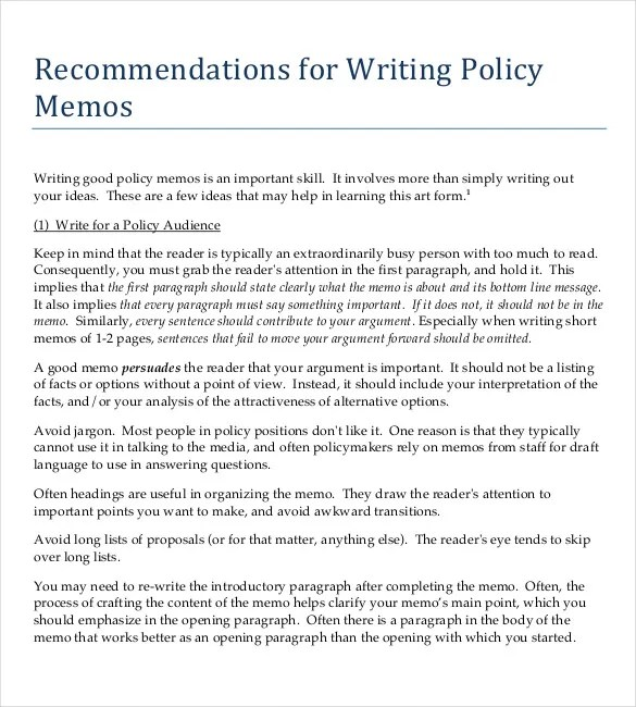 Policy Memo Templates Free Word Pdf Documents Download Free Policy