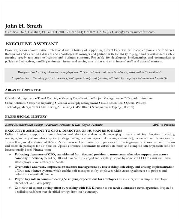 Executive Administrative Assistant Resume \u2013 10+ Free Word, PDF